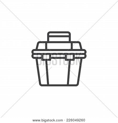 Toolbox Line Icon, Outline Vector Sign, Linear Style Pictogram Isolated On White. Repair Tool Box Sy