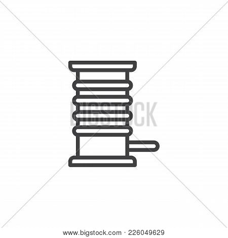 Coil With A Cord Cable Line Icon, Outline Vector Sign, Linear Style Pictogram Isolated On White. Sym