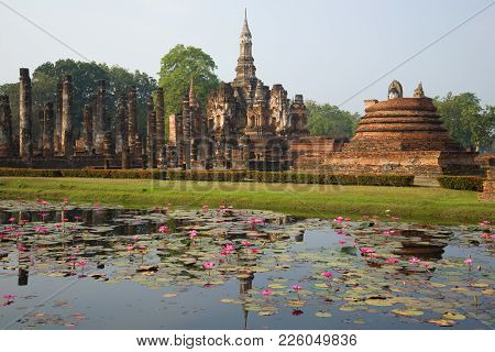 View Of The Ruins Of The Ancient Buddhist Temple Of Wat Mahathat. Sukhothai, Thailand
