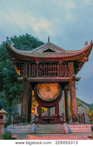 Square Building Hold A Big Drum At The Temple Of Literature Or Van Mieu In Hanoi. Constructed In 107