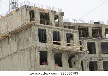 The Construction Of A New Home.the Walls Are Made Of Concrete.