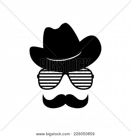 Man Face With Glasses, Mustache And Cowboy Hat. Photo Props. Cowboy. Vector