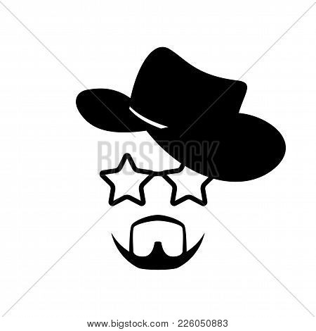 Man Face With Glasses, Beard And Cowboy Hat. Photo Props. Cowboy. Vector