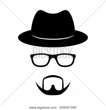 Incognito Icon. Man Face With Glasses, Beard And Hat. Photo Props. Vector