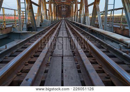Railway On Long Bien Ancient Metal Bridge In Hanoi, Vietnam