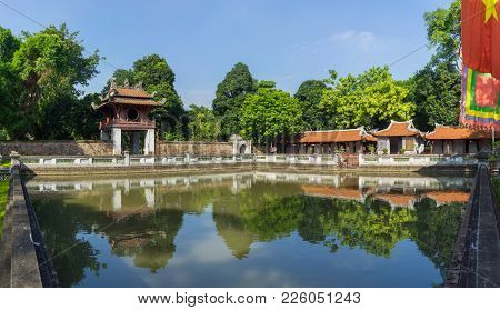 Panorama View Of Third Courtyard In Ancient Temple Of Literature Or Van Mieu, With The Thien Quang W