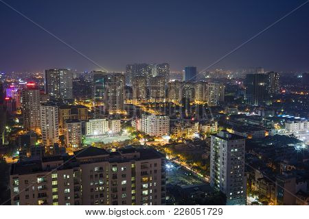 Aerial View Of Hanoi Skyline Cityscape At Night. Cau Giay District
