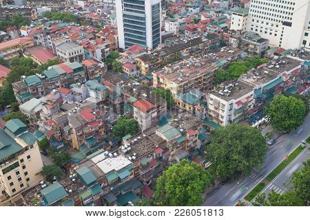 Arial View Of Thanh Cong Collective Zone. Messy Old Buildings In Hanoi, Vietnam