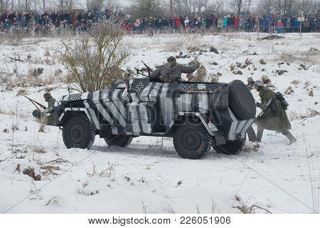 Saint Petersburg, Russia - January 14, 2018: Heavy Armored Staff Vehicle Sd.kfz.247 On The Battlefie