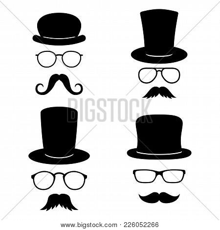 Man Faces With Glasses, Mustache, Hats. Photo Props Collections. Retro Party Set. Vector