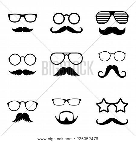 Photo Props. Man Faces With Glasses And Mustache. Gentleman. Detective. Vector