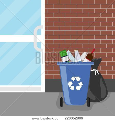 Overflowing Trash Can. Tank With Debris And Trash Bags. Trash Can. Flat Design, Vector Illustration,