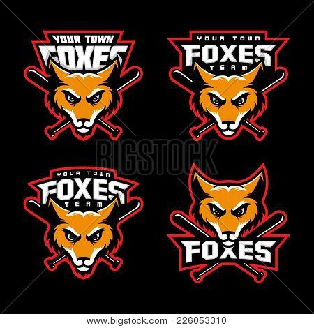 Fox Mascots For A Baseball Team. Vector Illustration.
