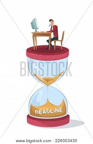 Deadline Concept Business Man Sinking In Sand Watch Sitting At Office Desk Wark On Computer Flat Vec