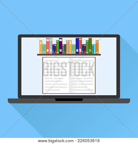 Online Training, Online Library. Computer Screensaver From The Books. Bookshelves With Books On Comp