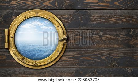 ship or boat with ocean horizon porthole on wooden wall