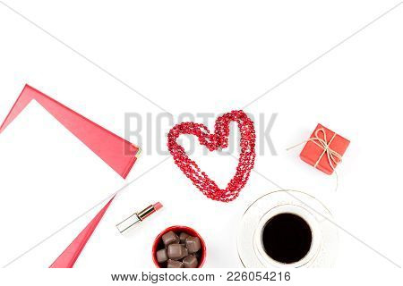 Coffee Cup, Sweets, Lipstick, Heart Shape And Giftbox On White Background. Valentine's Day Concept F