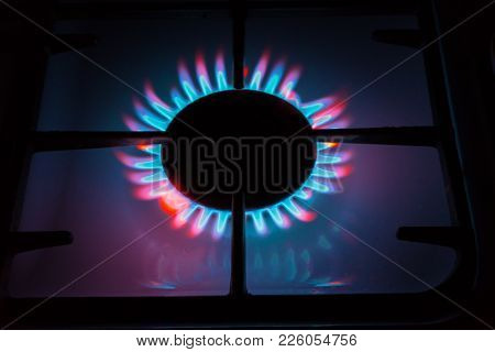 Picture Something Like Burning Gas Coming From The Gas Burners. Multi-colored Flame.
