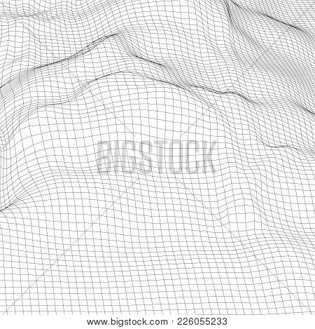 Abstract Digital Wireframe Landscape Background. Cyber Or Technology Background For Card, Brochure,