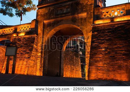 Closeup O Quan Chuong City Gate, The Only Gate Remaining Of Thang Long Citadel In Hanoi