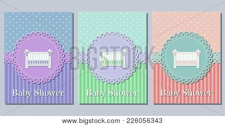 Baby Shower Cards. Invitation For Baby Shower Party Lacy Frames. Vector Illustration. Set Cute Greet