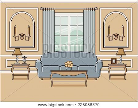 Room Interior With Window. Vector. Living Room In Flat Design. Linear Background. Home Space With Fu