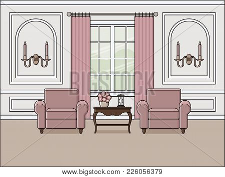 Living Room Interior. Vector. Room In Flat Design. Linear Background. Home Space With Furniture In L