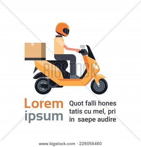 Motorcycle Delivery Service, Man Courier Riding Scooter With Box Parcel Over Template Background Fla
