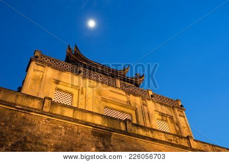 Closeup Top Of Central Sector Of Imperial Citadel Of Thang Long,the Cultural Complex Comprising The