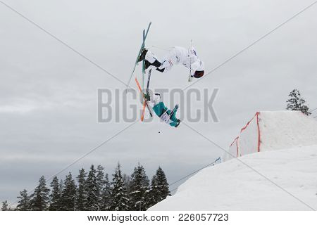 KRASNOE OZERO, LENINGRAD REGION, RUSSIA - FEBRUARY 1, 2018: Albin Holmgren (white) of Sweden and Michail Dolmatov of Russia compete in dual mogul during Freestyle Europa Cup competitions