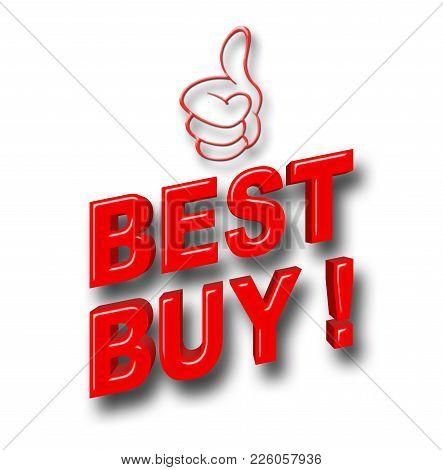 Stock Illustration - Red Best Buy, Red Glitter Thumb Up, 3d Illustration.
