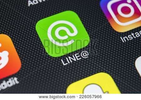 Sankt-petersburg, Russia, February 9, 2018: Line@ Application Icon On Apple Iphone X Screen Close-up
