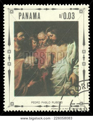 Panama - Circa 1968: Stamp Printed By Panama, Color Edition On Art, Shows Religious Paintings By Pie