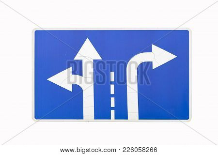 'direction To Be Followed' Old Square Blue Road Sign Isolated On White