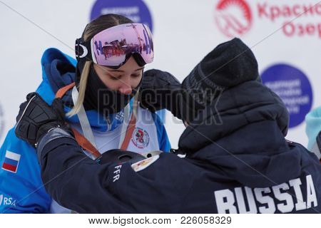 KRASNOE OZERO, LENINGRAD REGION, RUSSIA - FEBRUARY 1, 2018: Ksenia Kuznetsova of Russia got bronze medal during award ceremony of dual mogul competitions during Freestyle Europa Cup
