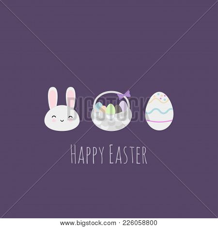 Vector Illustration With Easter Stuff: Basket, Easter Rabbit And Egg. Perfect For Easter Greeting Ca