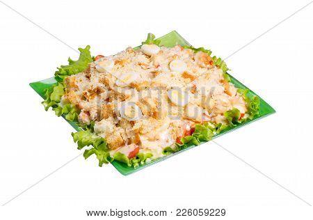Fresh Caesar Salad Isolated On White Background