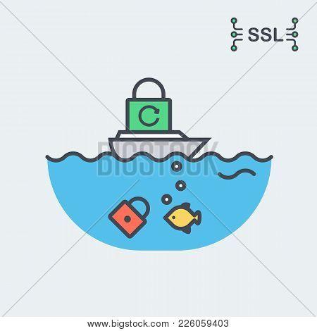Conceptual Vector Illustration Of The Ssl Or Tls Certificate. Depicting New Standards Of Internet Se