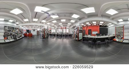 Grodno, Belarus - April 8, 2017: 360 Panorama View In Interior Of Modern Electric Home Store Of Lamp