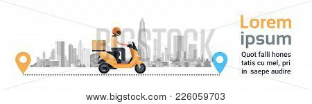 Delivery Service, Man Courier Riding Motorcycle With Box Parcel Over Silhouette City Buildings Backg