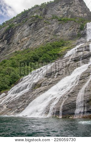 Waterfall In Norway Summer Travel