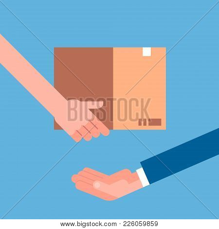 Man Hand Giving Cardboard Package To Another. Delivery Courier Shipping Concept Flat Vector Illustra