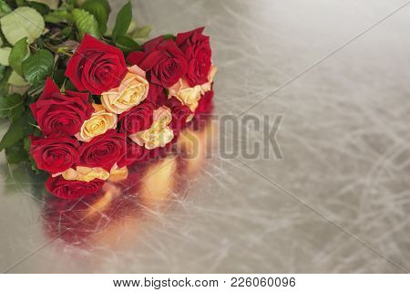 Bouquet Of Roses Of Bright Colors For Beloved, Symbol Of Love, Romantic Celebrations, Copy Space