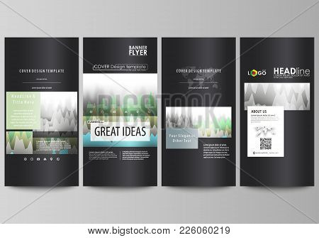 The Black Colored Minimalistic Vector Illustration Of The Editable Layout Of Four Vertical Banners,
