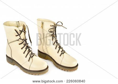 Ladies Boots Isolated On White Background. Comfortable Modern Shoes. Free Space For Text.