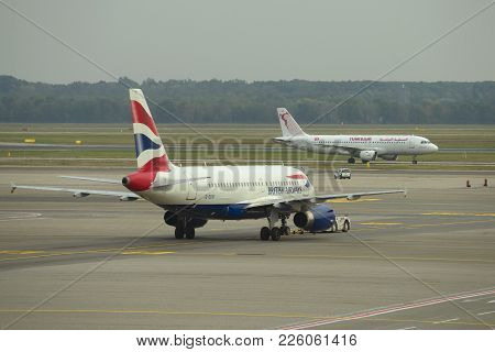 Milan, Italy - September 29, 2018: Airbus A319-131 (g-euoi) Of British Airways Airline Expects The C