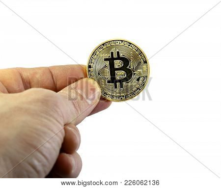 Hand Of Man With One Big Goden Bitcoin On White Background