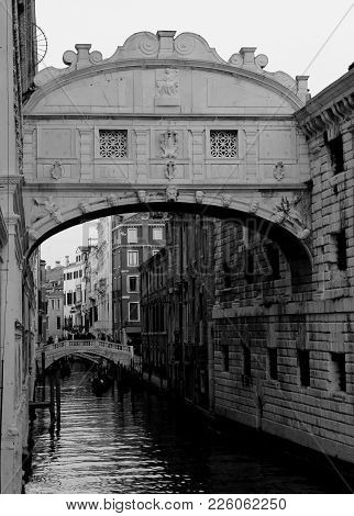 Ancient Bridge Of Sighs Historical Building In Venice Island In Italy