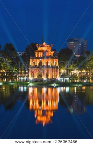 Turtle Tower, The Symbol Of Vietnam, At Twilight Period At Hoan Kiem Lake Or Ho Guom Or Sword Lake