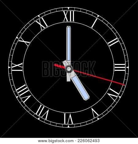 Black Clockface With Roman Numerals. Five O Clock. Vector Illustration